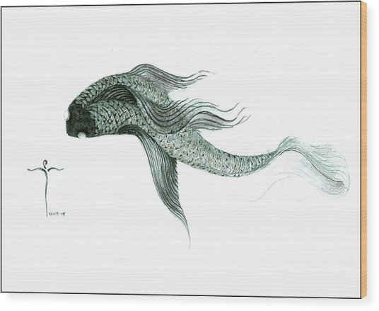 Wood Print featuring the drawing Megic Fish 1 by James Lanigan Thompson MFA