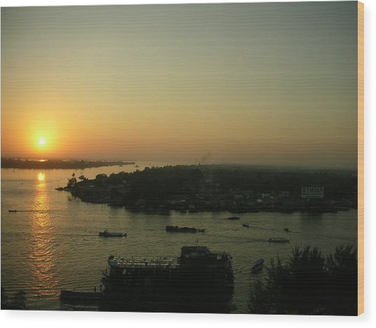 Mekong River Morning Sanrise Traffic Wood Print