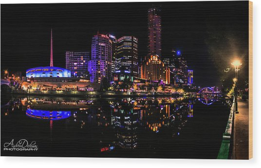 Melbourne By Night Wood Print