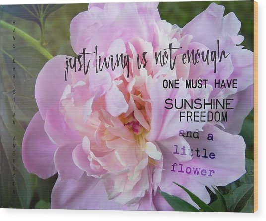 Melissa's Flower Quote Wood Print by JAMART Photography
