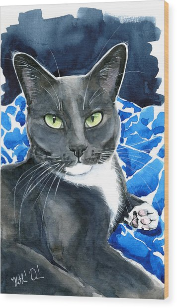 Melo - Blue Tuxedo Cat Painting Wood Print