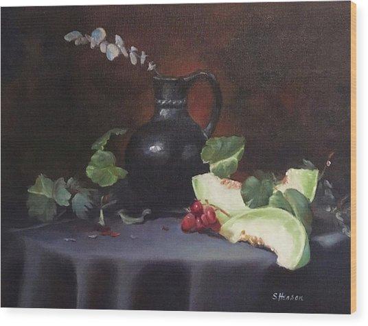 Melon And Vase Wood Print