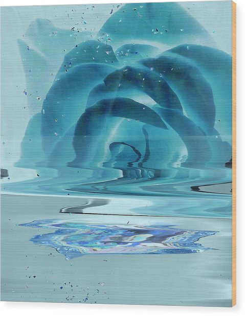 Melting Blue Rose  Wood Print by Anne-Elizabeth Whiteway