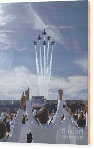 Wood Print featuring the photograph Members Of The U.s. Naval Academy Cheer by Stocktrek Images