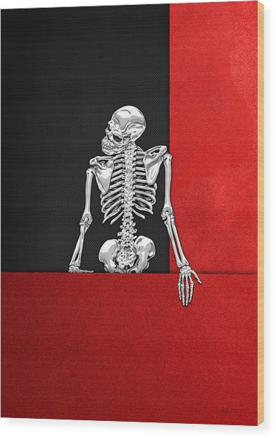 Memento Mori - Skeleton On Red And Black  Wood Print