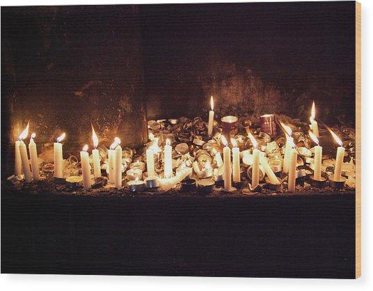 Memorial Candles Wood Print