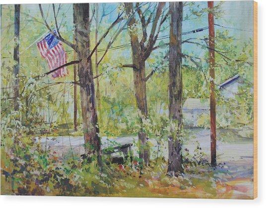 Memorial Day Flag Wood Print