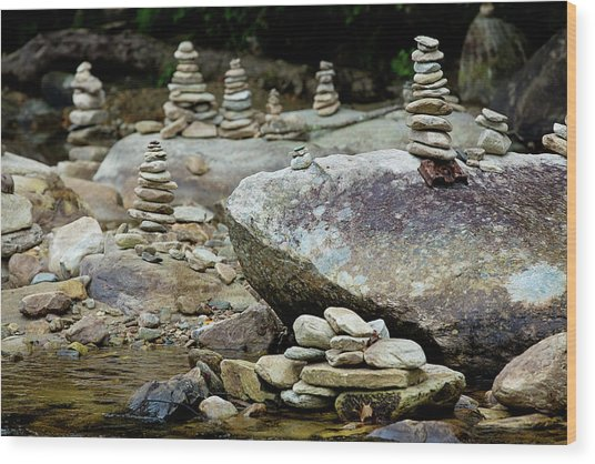 Memorial Stacked Stones Wood Print