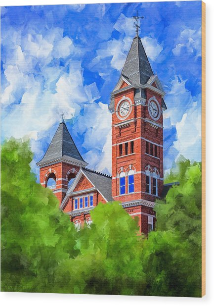Memories Of Auburn - Samford Hall Wood Print