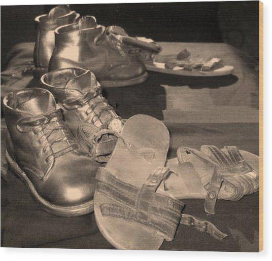 Memories Of Little Feet Wood Print