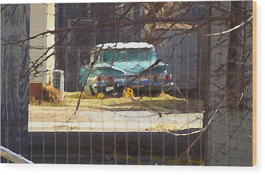 Wood Print featuring the digital art Memories Of Old Blue, A Car In Shantytown.  by Shelli Fitzpatrick