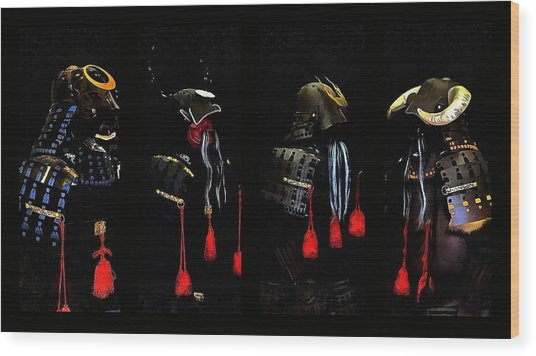 Memories Of Samurai Black Armour Collage Wood Print by Dorothy Berry-Lound