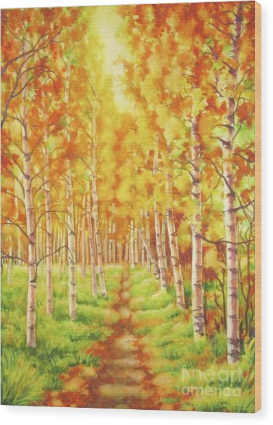 Memories Of The Birch Country Wood Print