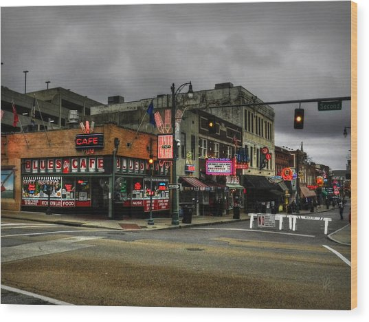 Wood Print featuring the photograph Memphis - Beale Street 002 by Lance Vaughn