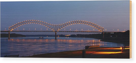 Wood Print featuring the photograph Memphis - I-40 Bridge Over The Mississippi 2 by Barry Jones
