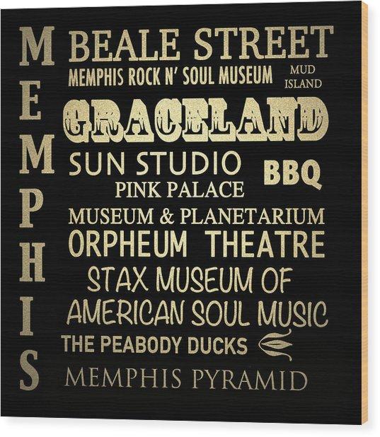 Memphis Tennessee Famous Landmarks Wood Print