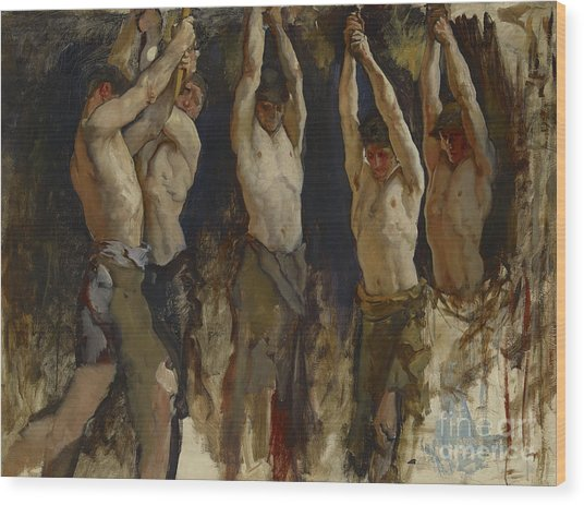 Men At An Anvil, Study For The Spirit Of Vulcan Wood Print