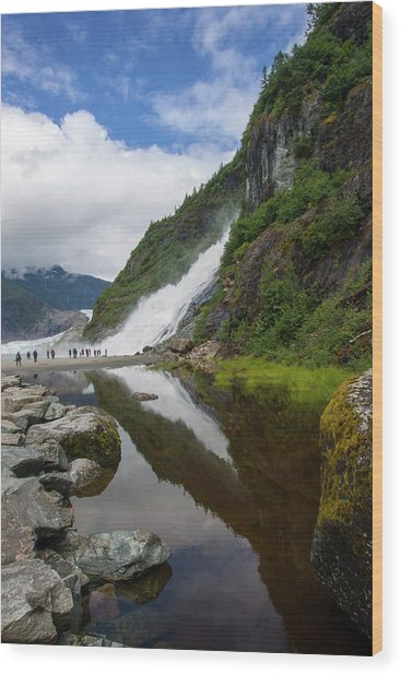 Mendenhall Waterfall Wood Print