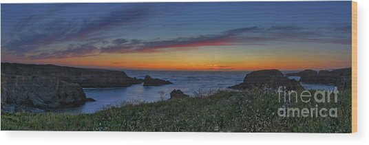 Mendocino Headlands Sunset Wood Print