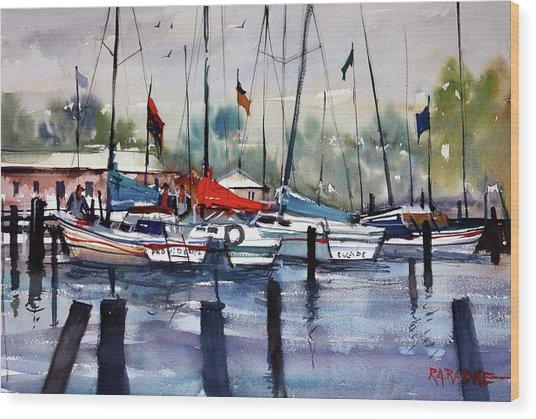 Menominee Marina Wood Print