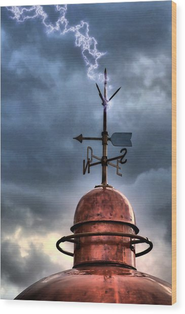 Menorca Copper Lighthouse Dome With Lightning Rod Under A Bluish And Stormy Sky And Lightning Effect Wood Print