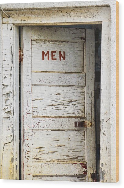 Men's Room Wood Print