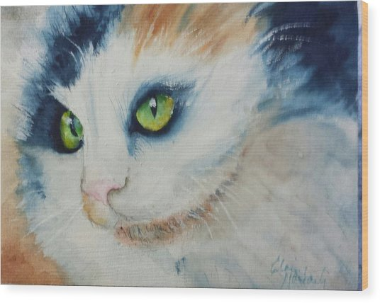 Meow II Wood Print by Elaine Frances Moriarty
