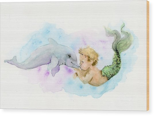 Merboy Kiss Wood Print