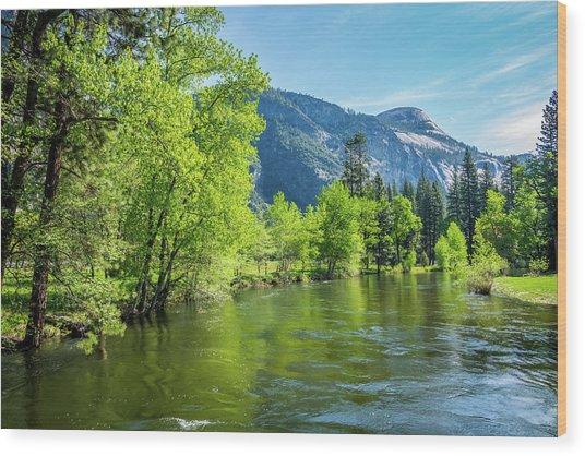 Merced River In Yosemite Valley Wood Print