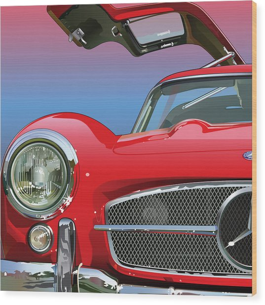 Mercedes 300 Sl Gullwing Detail Wood Print