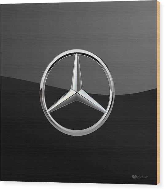 Mercedes-benz - 3d Badge On Black Wood Print
