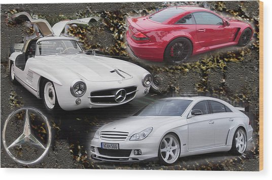 Mercedes Tribute Wood Print by Michael Burleigh