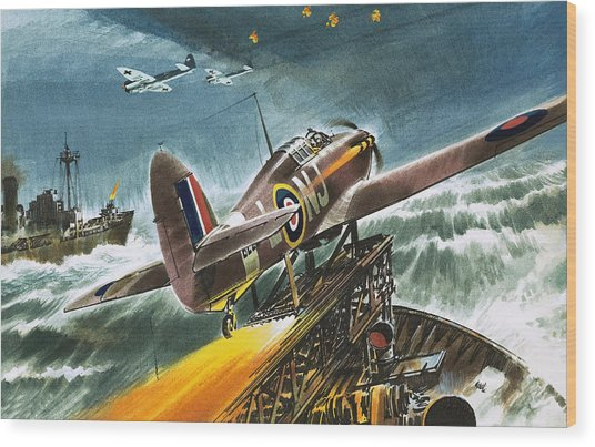 Merchant Navy Fighter Wood Print