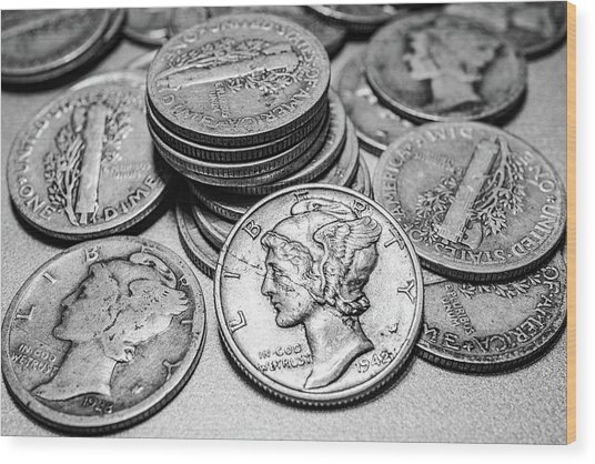 Mercury Dimes Wood Print