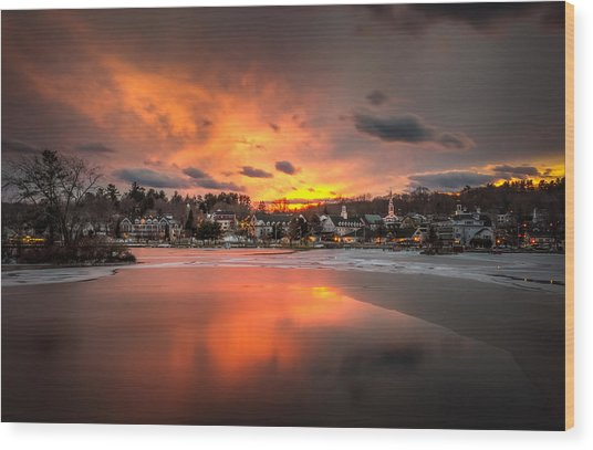 Meredith Sunset Wood Print