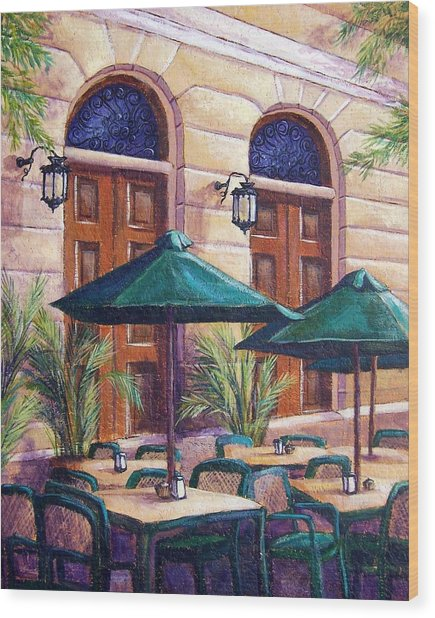 Merida Cafe Wood Print by Candy Mayer