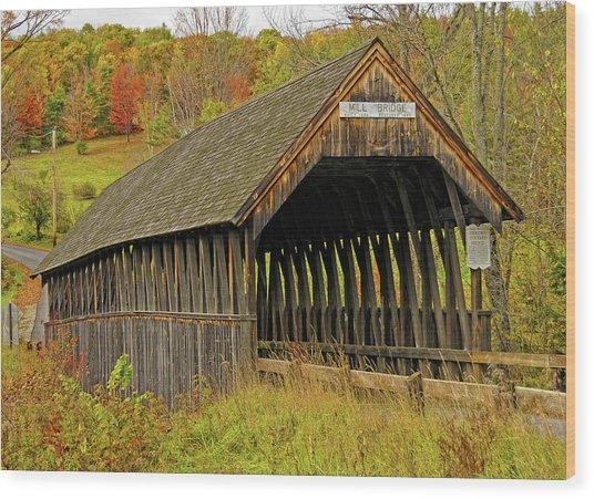 Meriden Covered Bridge Wood Print by Liz Mackney