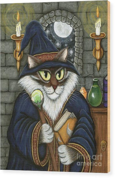 Merlin The Magician Cat Wood Print