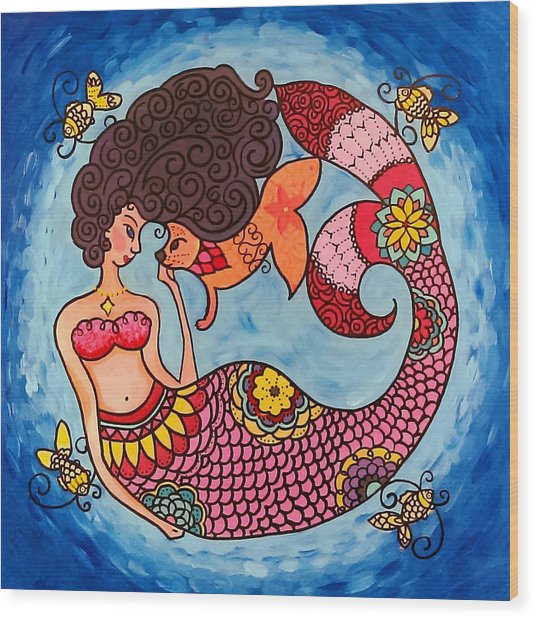 Mermaid And Catfish Wood Print