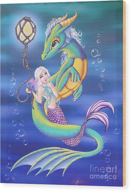 Wood Print featuring the painting Mermaid And Sea Dragon by Mary Hoy