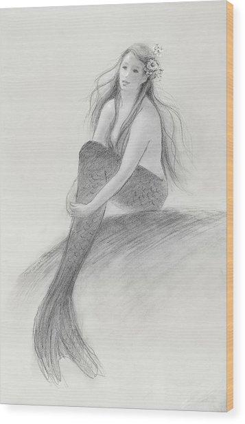 Mermaid Christina In The Sunshine Wood Print by Tina Obrien