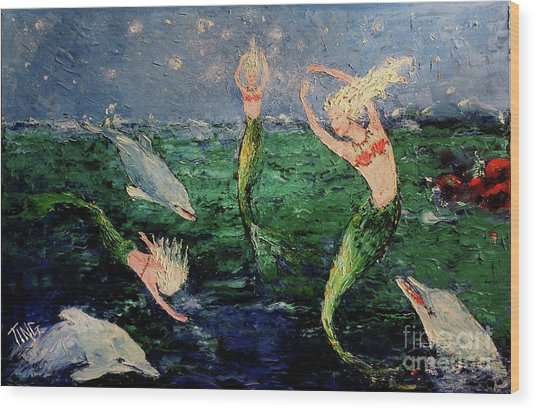 Mermaid Dance With Dolphins Wood Print