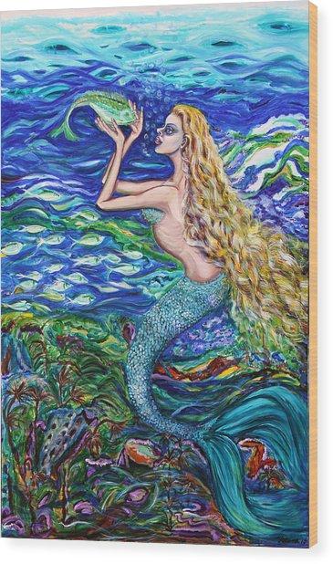 Mermaid Fishnet  Wood Print