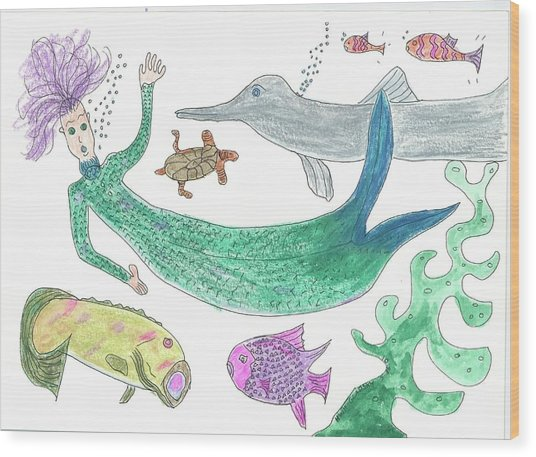 Mermaid Hello Wood Print
