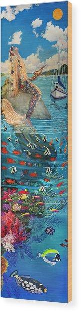 Mermaid In Paradise Wood Print