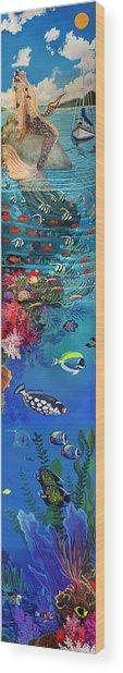 Mermaid In Paradise Complete Underwater Descent Wood Print
