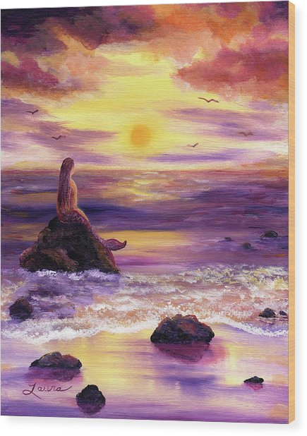 Mermaid In Purple Sunset Wood Print