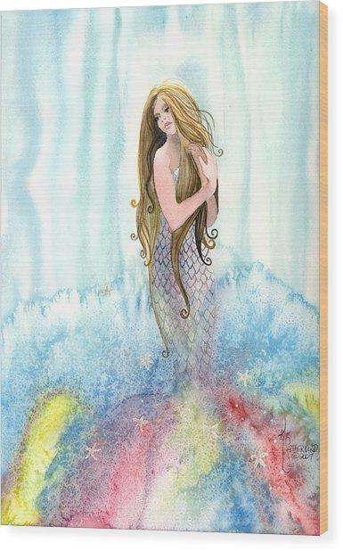 Mermaid In The Mist Wood Print