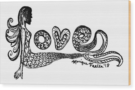 Mermaid Love Wood Print