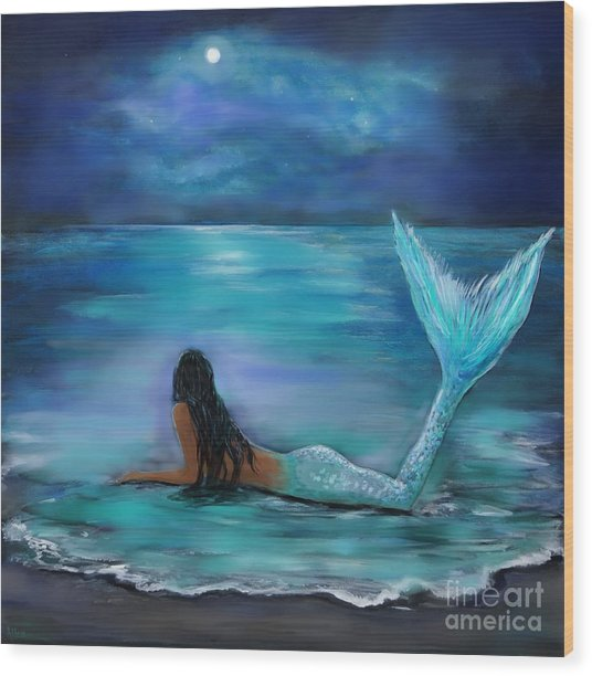 Mermaid Moon And Stars Wood Print